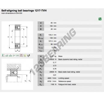 1217-TVH-FAG - 85x150x28 mm