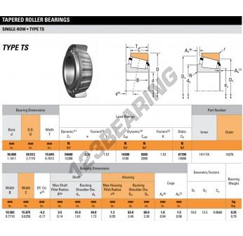 14117A-14276-TIMKEN - 30x69.01x19.85 mm