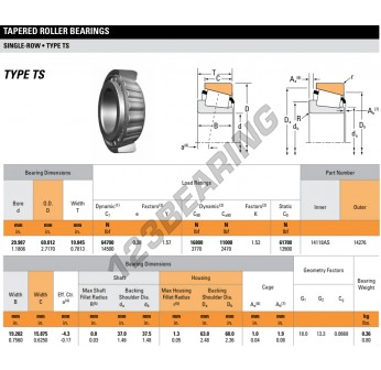 14118AS-14276-TIMKEN - 29.99x69.01x19.85 mm