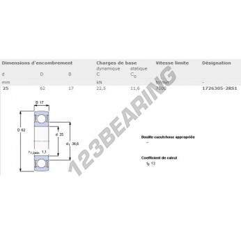 1726305-2RS1-SKF - 25x62x17 mm