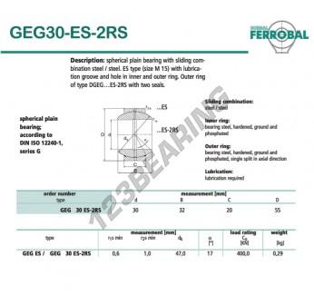 GEG30-ES-2RS-DURBAL - 30x55x20 mm